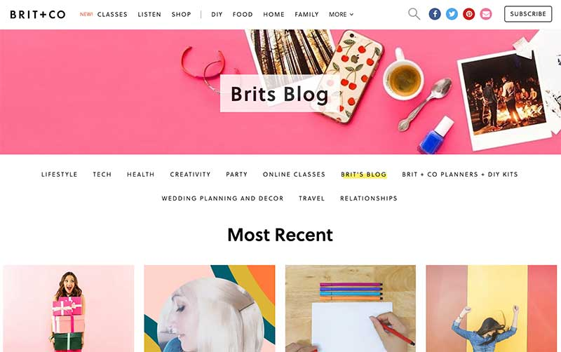 The Brit + Co blog is beautifully designed, which makes a difference when you're writing a blog post
