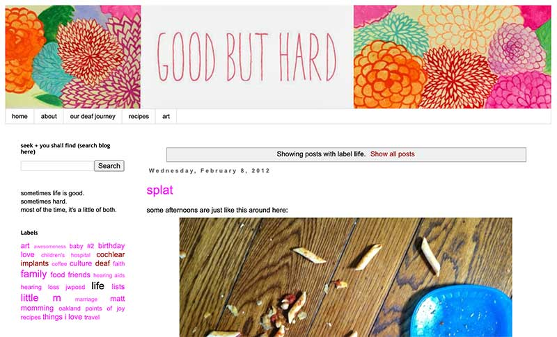 Susannah Prinz's blog Good But Hard has been a constant source of inspiration for me