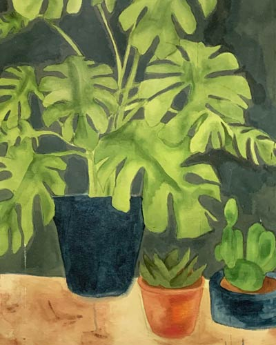 A detail of Houseplant painting 1 by Jana Rumberger