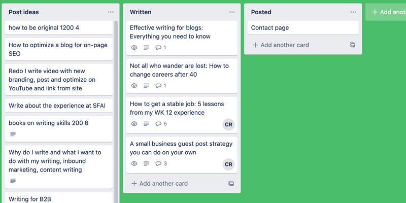 My trello board helps me write more effectively because it helps me structure my ideas before I start researching and writing