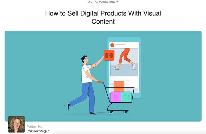 Small business guest post for Visme about. selling digital products with graphic content