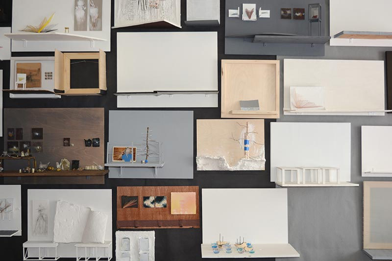 Metafictions in progress on wall Jana Rumberger art