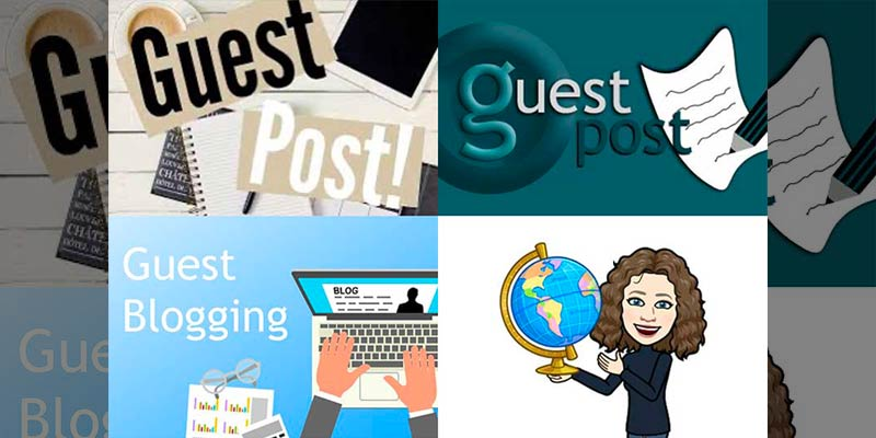 Grid of guest post graphics for a post about small business guest posts